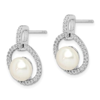Sterling Silver Rhodium-plated 8-9mm White Button FWC Pearl CZ Earrings