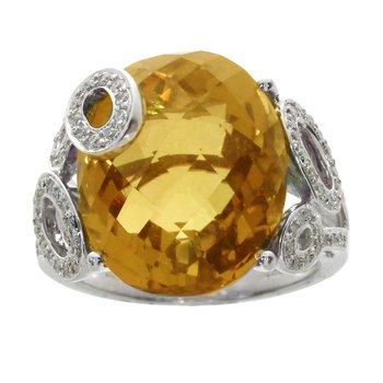 14k White Gold Citrine And Diamond Oval Ring