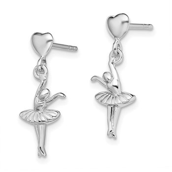 Sterling Silver Rhodium-plated Ballerina Dangle Post Earrings