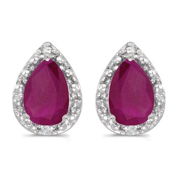 10k White Gold Pear Ruby And Diamond Earrings