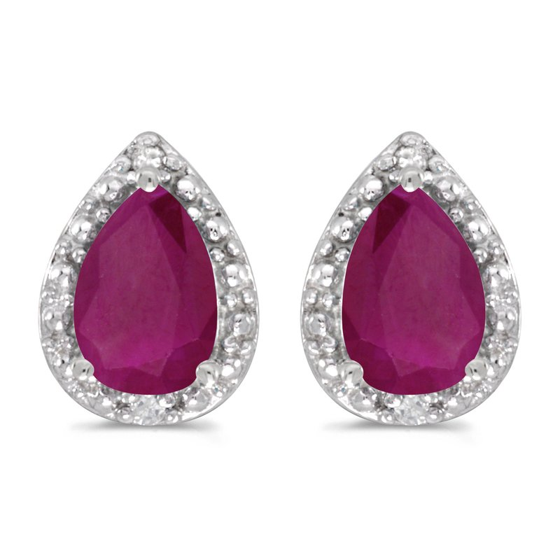 Color Merchants 10k White Gold Pear Ruby And Diamond Earrings
