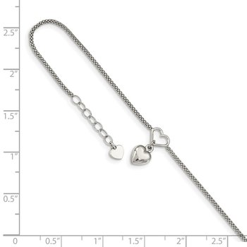 Sterling Silver Cabled Heart Dangle Charm 9in Plus 1in Ext Anklet