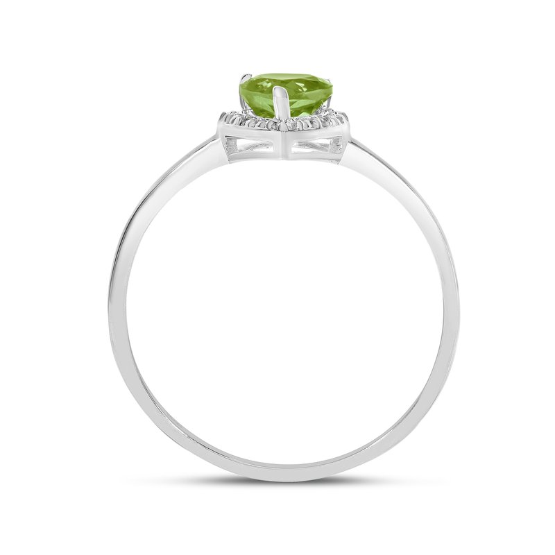 Color Merchants 14k White Gold Pear Peridot And Diamond Ring