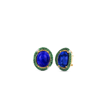 18Kt Gold Art Deco Earrings With Lapis And Tsavorite