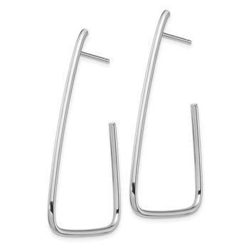 14k 1.5mm White Gold Polished Triangle Post Dangle Earrings