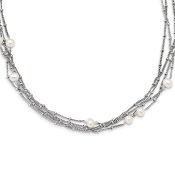 Sterling Silver RH 5-6mm Wt FWC Pearl Bead Multi-strand Necklace