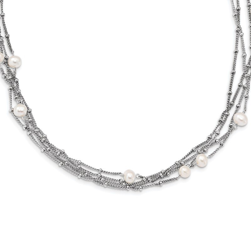 J.F. Kruse Signature Collection Sterling Silver RH 5-6mm Wt FWC Pearl Bead Multi-strand Necklace