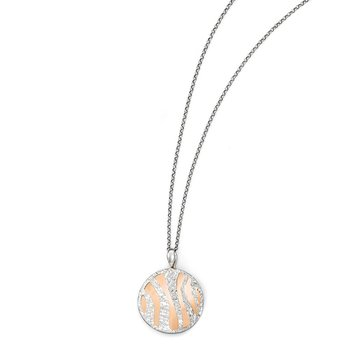 Leslie's Sterling Silver Rose-tone D/C w/2in ext. Necklace
