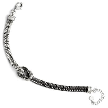 Leslie's Sterling Silver Ruthenium Plated Mesh w/1.5in ext. Bracelet