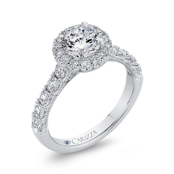Round Halo Diamond Engament Ring In 14K White Gold (Semi-Mount)