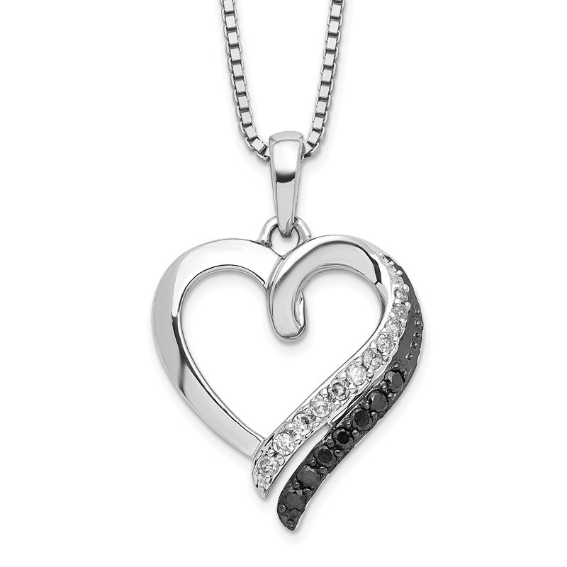 Quality Gold Sterling Silver Black & White Diamond Pendant Necklace