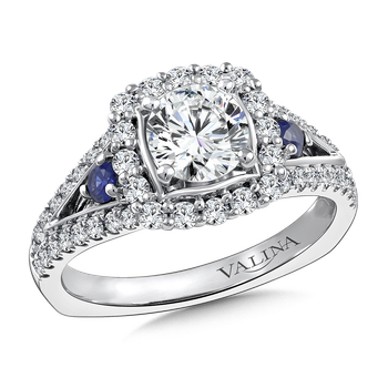 Diamond and Blue Sapphire Halo Engagement Ring Mounting in 14K White Gold (.58 ct. tw.)