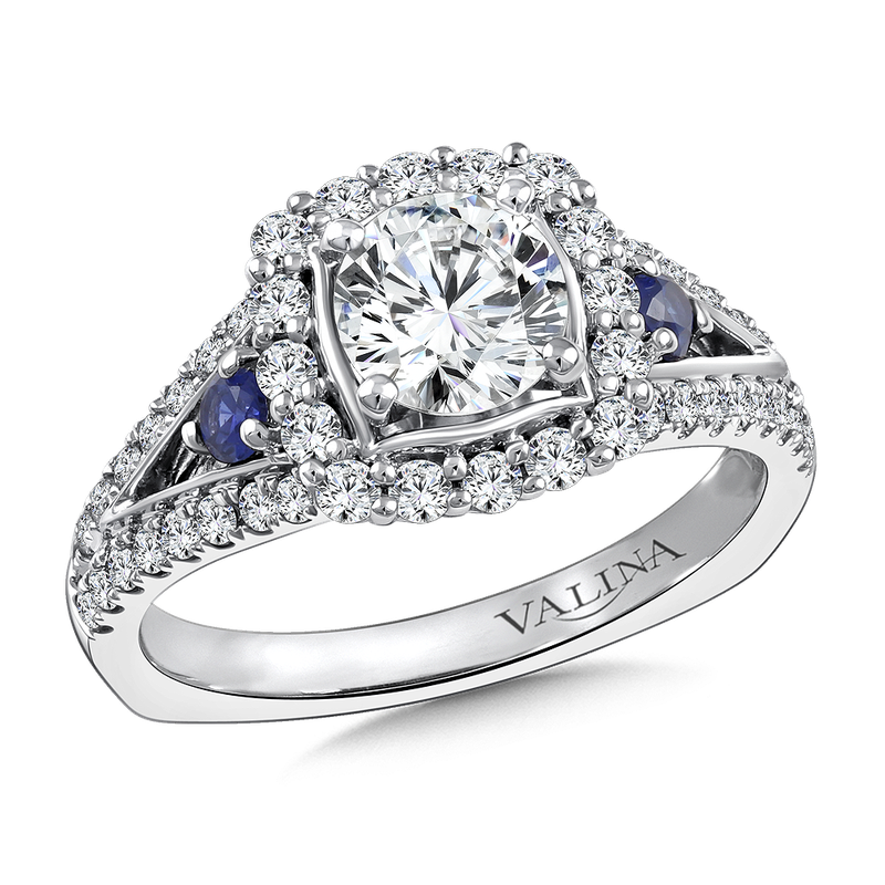 Valina Bridals Diamond and Blue Sapphire Halo Engagement Ring Mounting in 14K White Gold (.58 ct. tw.)