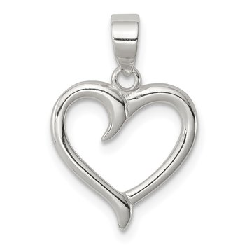 Sterling Silver Polished Fancy Open Heart Pendant
