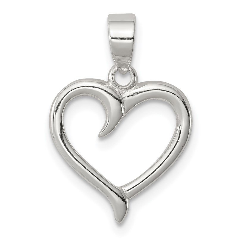 Quality Gold Sterling Silver Polished Fancy Open Heart Pendant