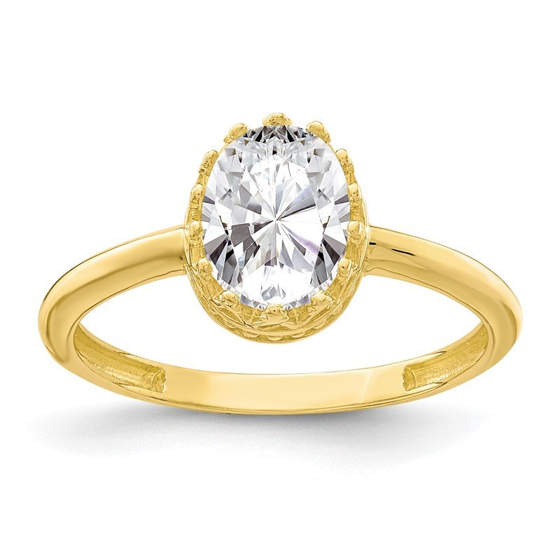Quality Gold 10k Tiara Collection Polished Oval CZ Ring