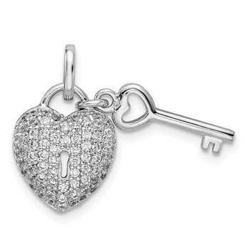 Sterling Silver Rhodium-plated CZ Heart Lock & Key Pendant