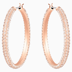 Stone Hoop Pierced Earrings, Pink, Rose-gold tone plated