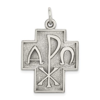 Sterling Silver Antiqued Alpha Omega Cross Pendant