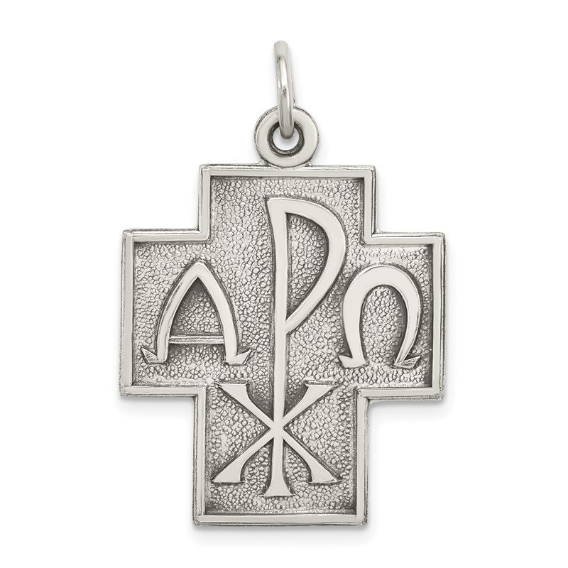 Quality Gold Sterling Silver Antiqued Alpha Omega Cross Pendant