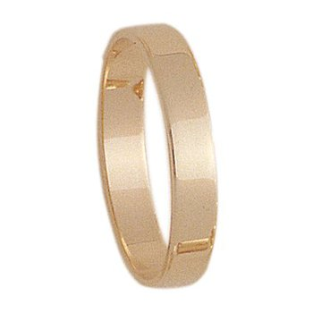 4mm S400R Mens Light-weight Rectangular  Wedding Band