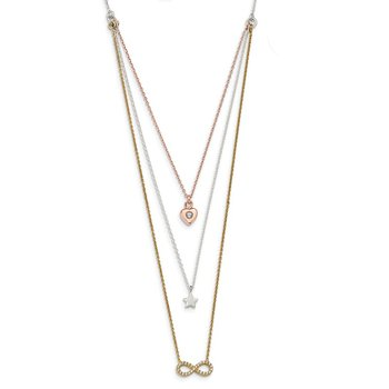 Sterling Silver w/Yellow & Rose-tone CZ Infinity & Heart 16in Necklace