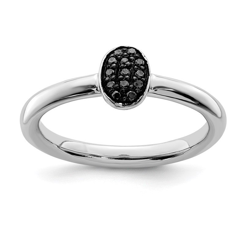 Quality Gold Sterling Silver Rhodium Black Diam. Ring