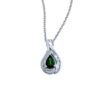 14k White Gold Pear Emerald and Diamond Pendant