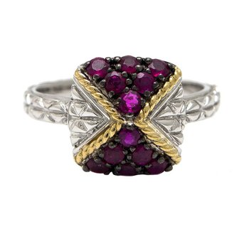 18KT AND STERLING SILVER RUBY RING