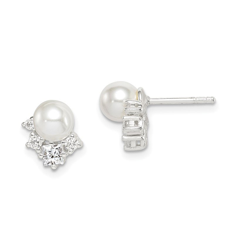 Quality Gold Sterling Silver CZ and Glass Pearl Post Earrings