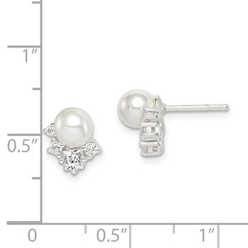 Sterling Silver CZ and Glass Pearl Post Earrings