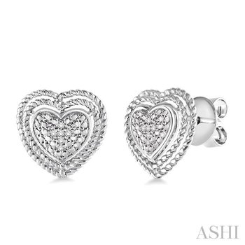 SILVER HEART SHAPE DIAMOND EARRINGS