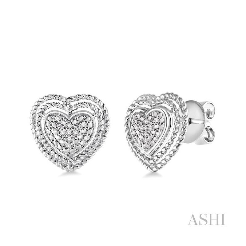 Crocker's Collection silver heart shape diamond earrings