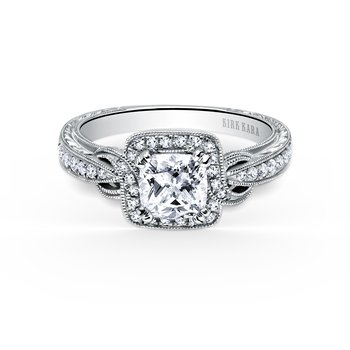 Cushion Twist Halo Diamond Engagement Ring