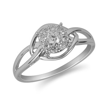 14K WG Diamond Cluster Ring