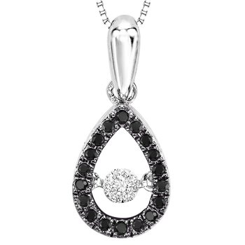 14K Black & white Diamond Rhythm Of Love Pendant 1/5 ctw