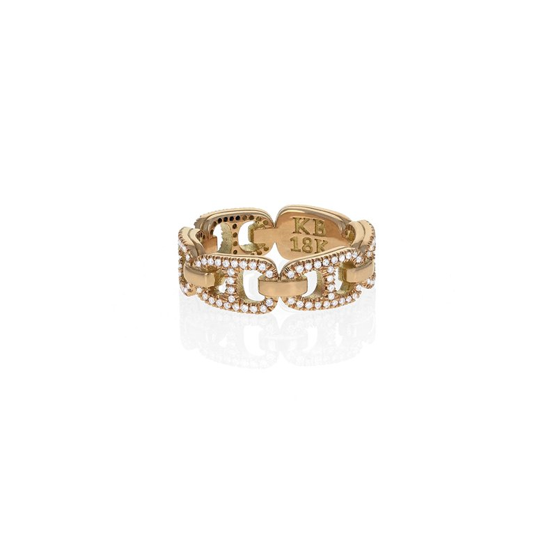 King Baby Small 18K Pop Top Infinity Band W/ Pave Diamonds Fully Around