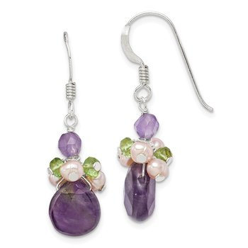 Sterling Silver Amethyst Peridot and Peach FW Cultured Pearl Earrings