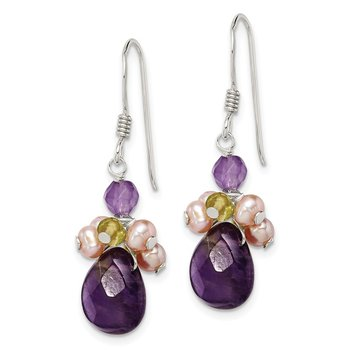 Sterling Silver Amethyst/Peridot/Peach FW Cultured Pearl Earrings