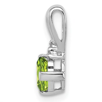 Sterling Silver Rhodium Plated Diamond and Peridot Pendant