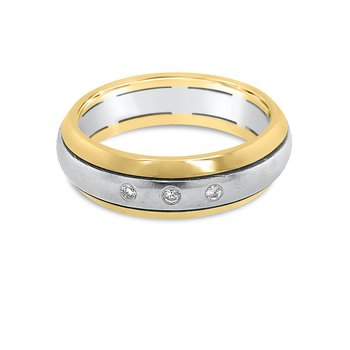 14K Two Tone Gold Diamond Retro Mens Band
