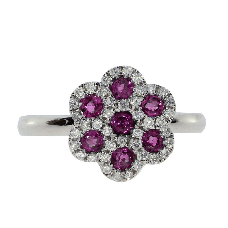 Color Merchants 14k White Gold Ruby and  Diamond Flower Ring