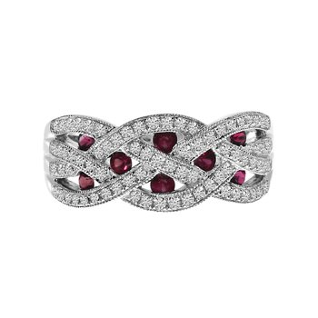 14k White Gold Ruby and Diamond Braided Wide Band