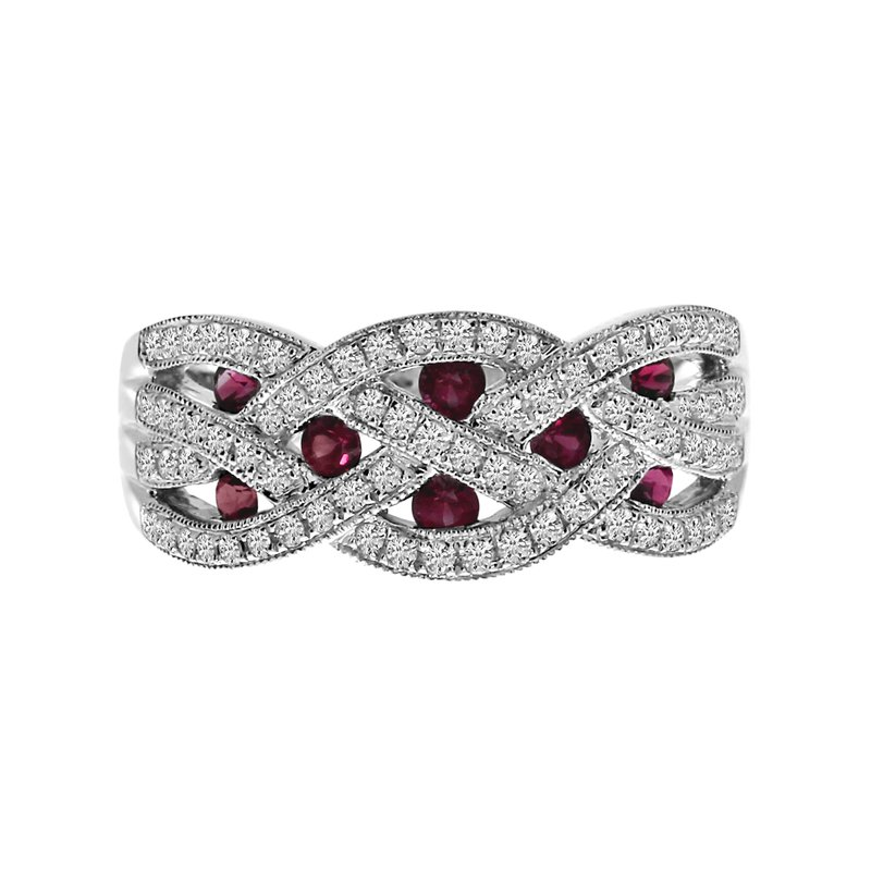 Color Merchants 14k White Gold Ruby and Diamond Braided Wide Band