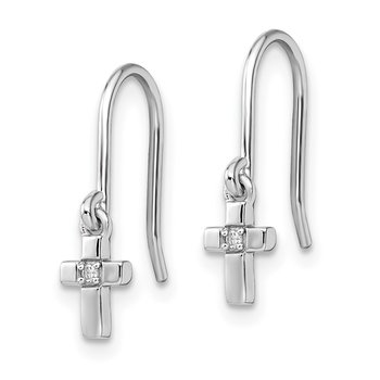 Sterling Silver Rhodium Diam. Cross Dangle Shepherds Hook Earrings