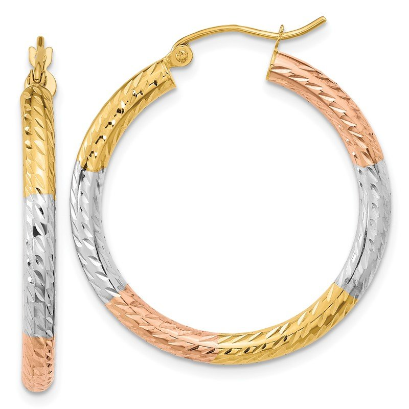 Quality Gold 14k w/White and Rose Rhodium Polished & D/C Hoop Earrings