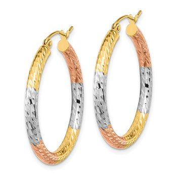 14k w/White and Rose Rhodium Polished & D/C Hoop Earrings