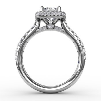 Cushion-Shaped Waterfall Halo Diamond Engagement Ring