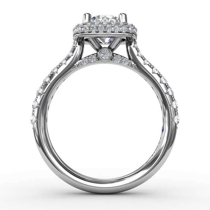 Fana Cushion-Shaped Waterfall Halo Diamond Engagement Ring