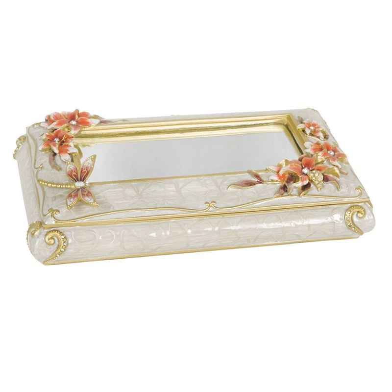 Luxury Giftware by Jere Dragonfly and Lily Trinket Box with Mirror